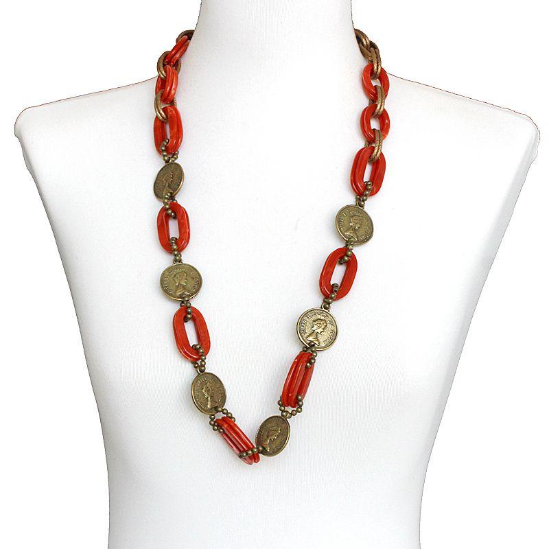 Bijuteria - Colar feminino longo, elos e moedas - 7535