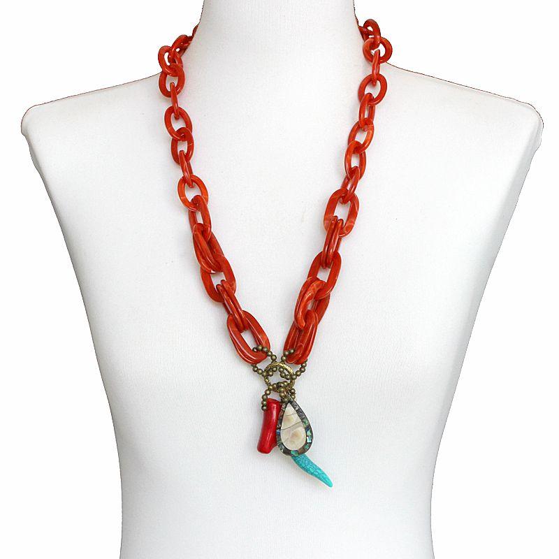 Colar feminino longo, elos, e pingentes - bijuterias - 7558