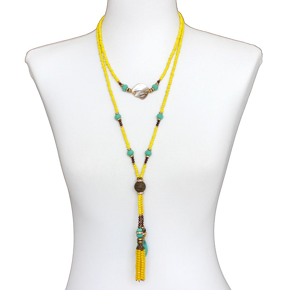 Colar feminino longo miçangas, cristais e madrepérola - bijuteria - 3691