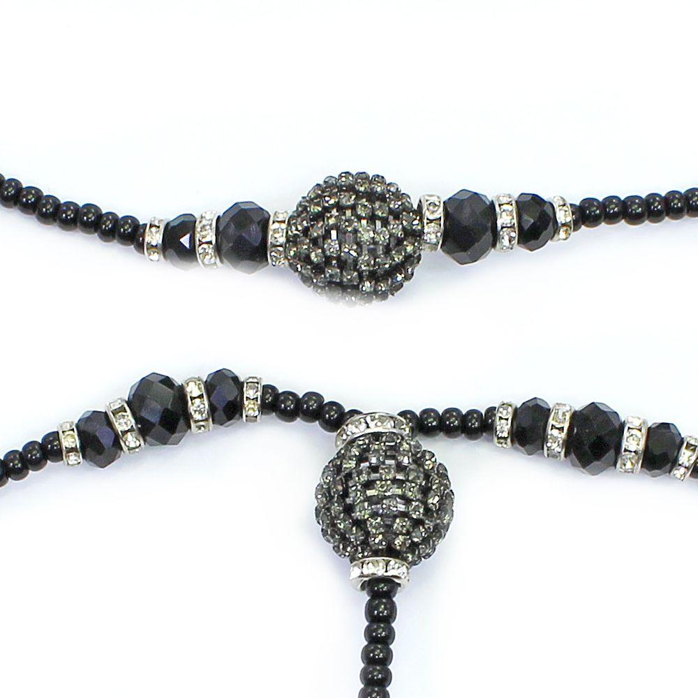 Colar feminino longo miçangas, cristais e strass - bijuterias - 1244