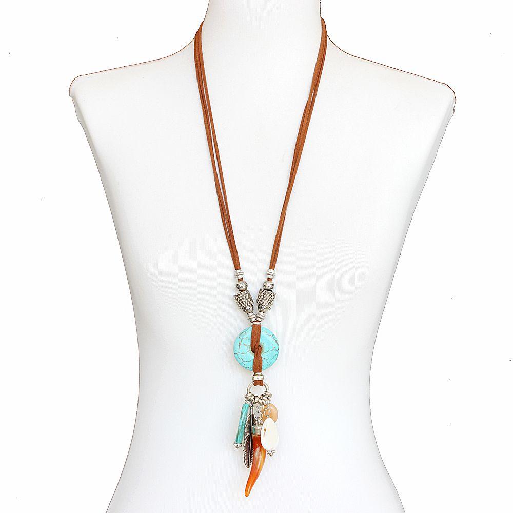 Colar feminino longo, pedras, camurça, metais - Bijuteria - 8307