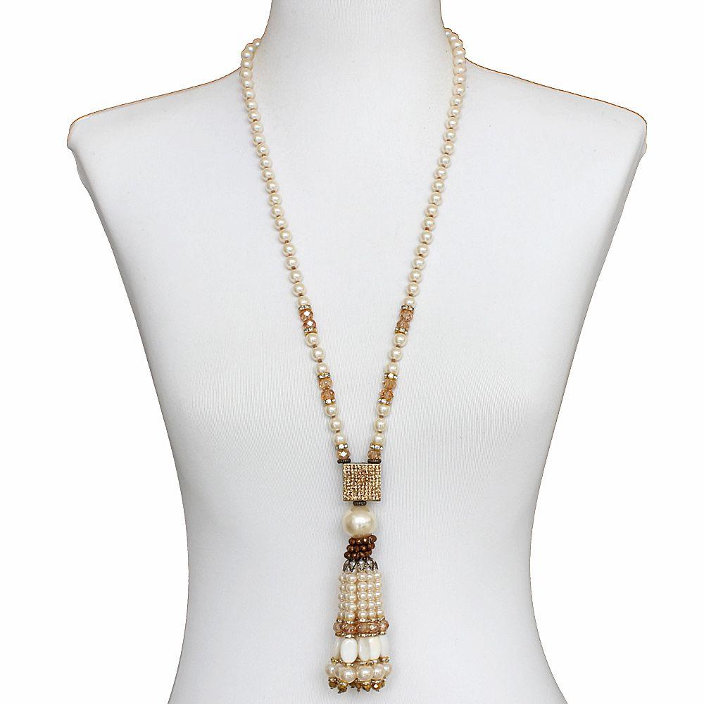 Colar feminino longo pérolas, cristais e strass - bijuteria - 1646