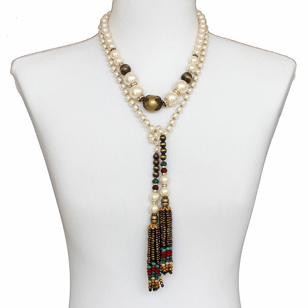 Colar feminino longo pérolas e cristais - 2418