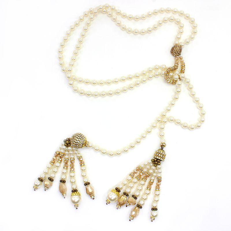 Colar feminino longo, pérolas e cristais - bijuterias - 5256