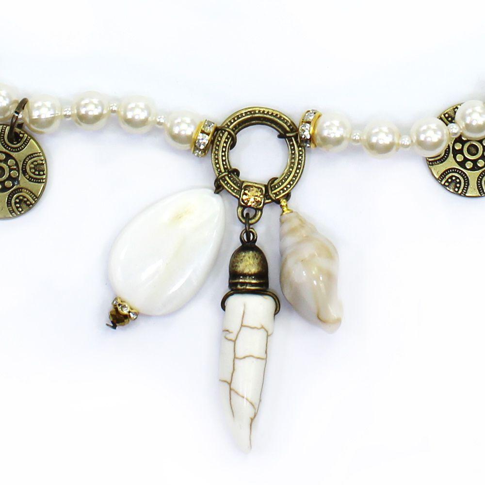 Colar feminino longo pérolas e pingentes - bijuteria - 1790