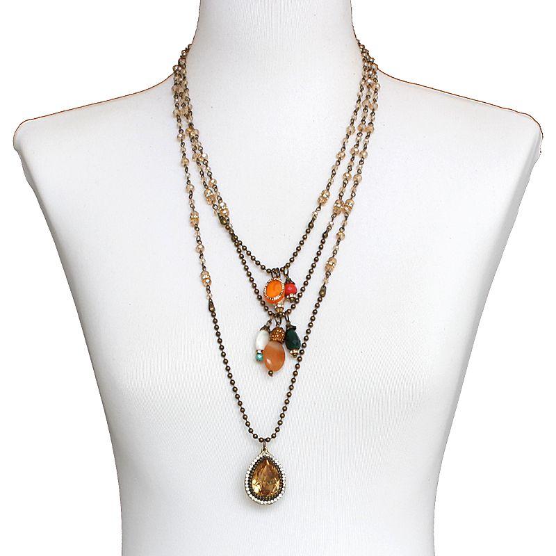 colar feminino longo pingentes - bijuterias - 6763