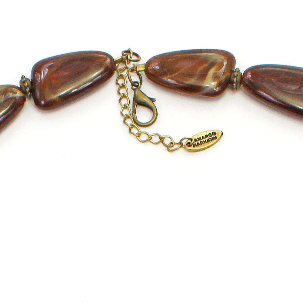 Colar feminino longo, resinas, cristais e metais - bijuterias - 3687