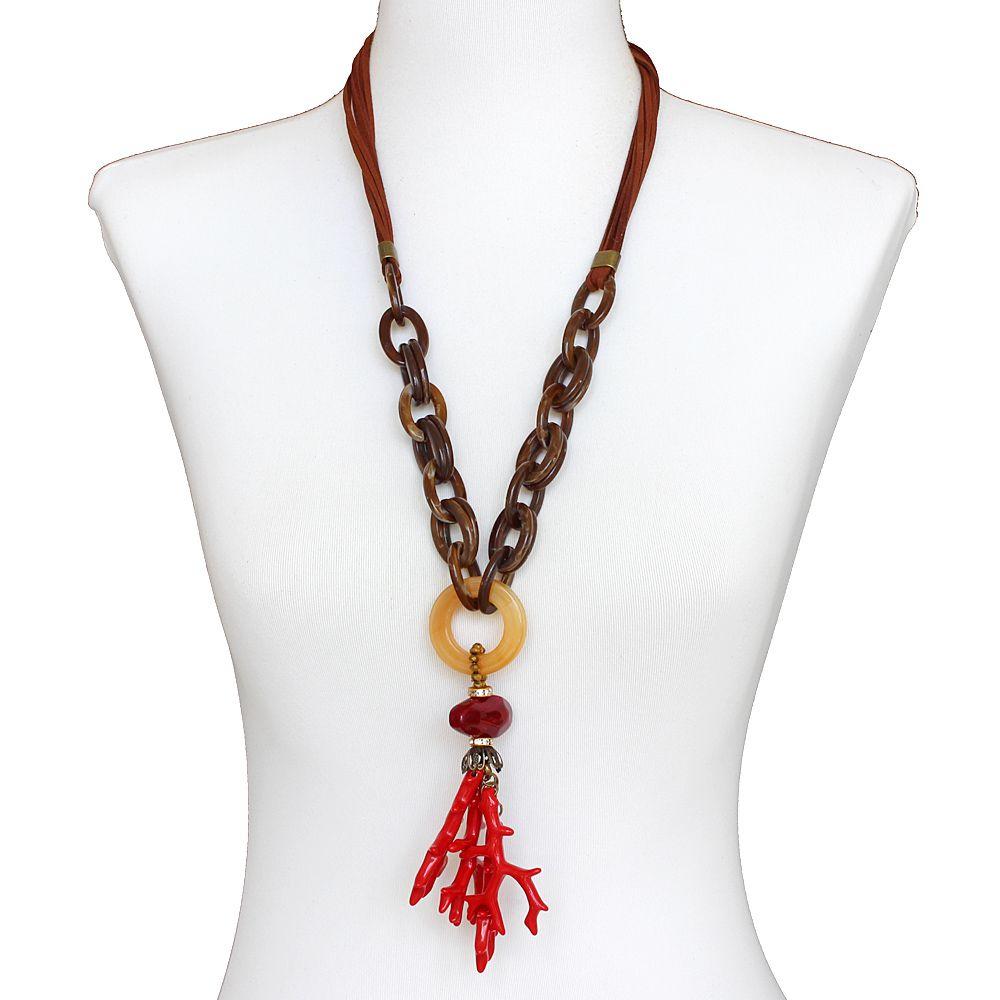 Colar feminino longo resinas e camurça - bijuteria - 3667