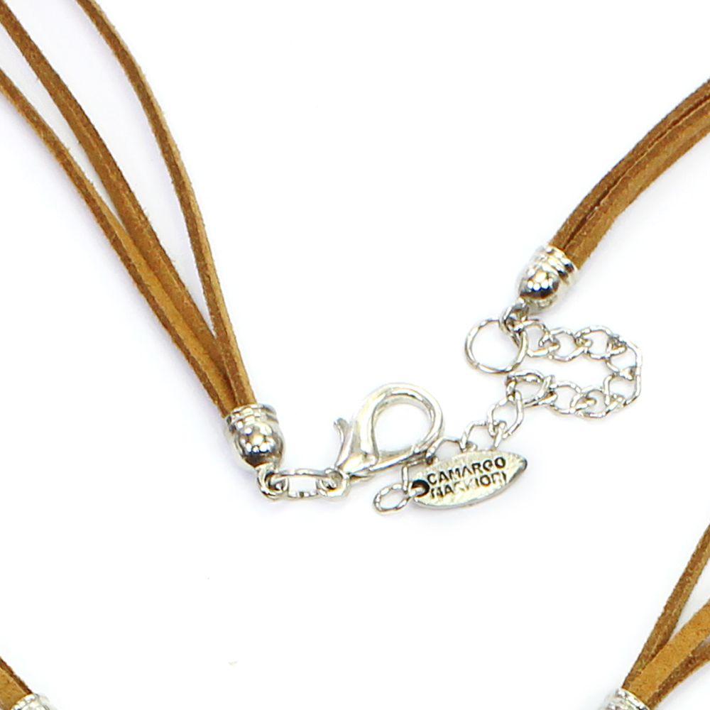 Colar feminino longo, resinas, pedras, cristais e metal - bijuterias - 8286