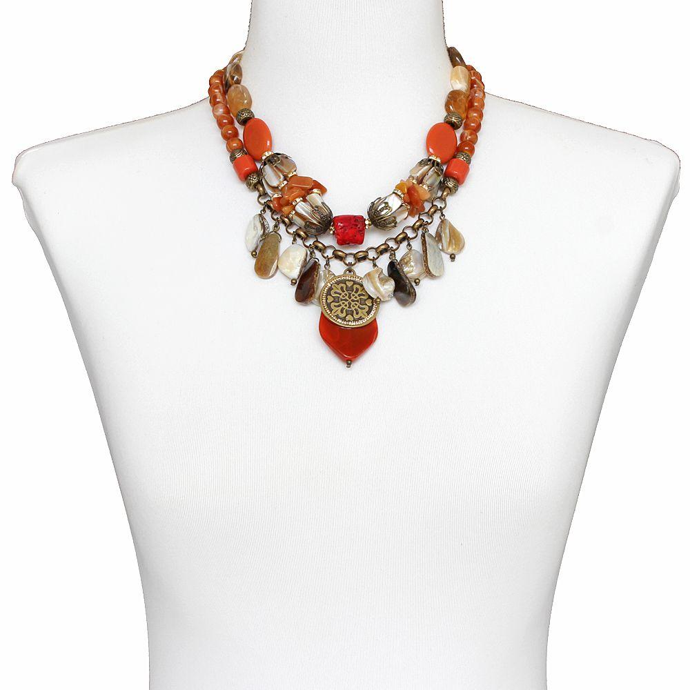 Colar feminino madrepérolas, resinas e metais - bijuterias - 2331