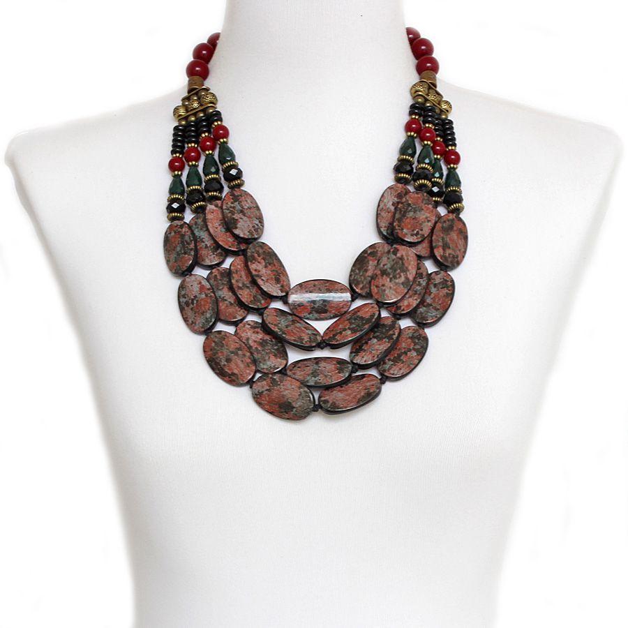 Colar feminino max, 4 voltas, resinas e cristais, bijuterias -3980
