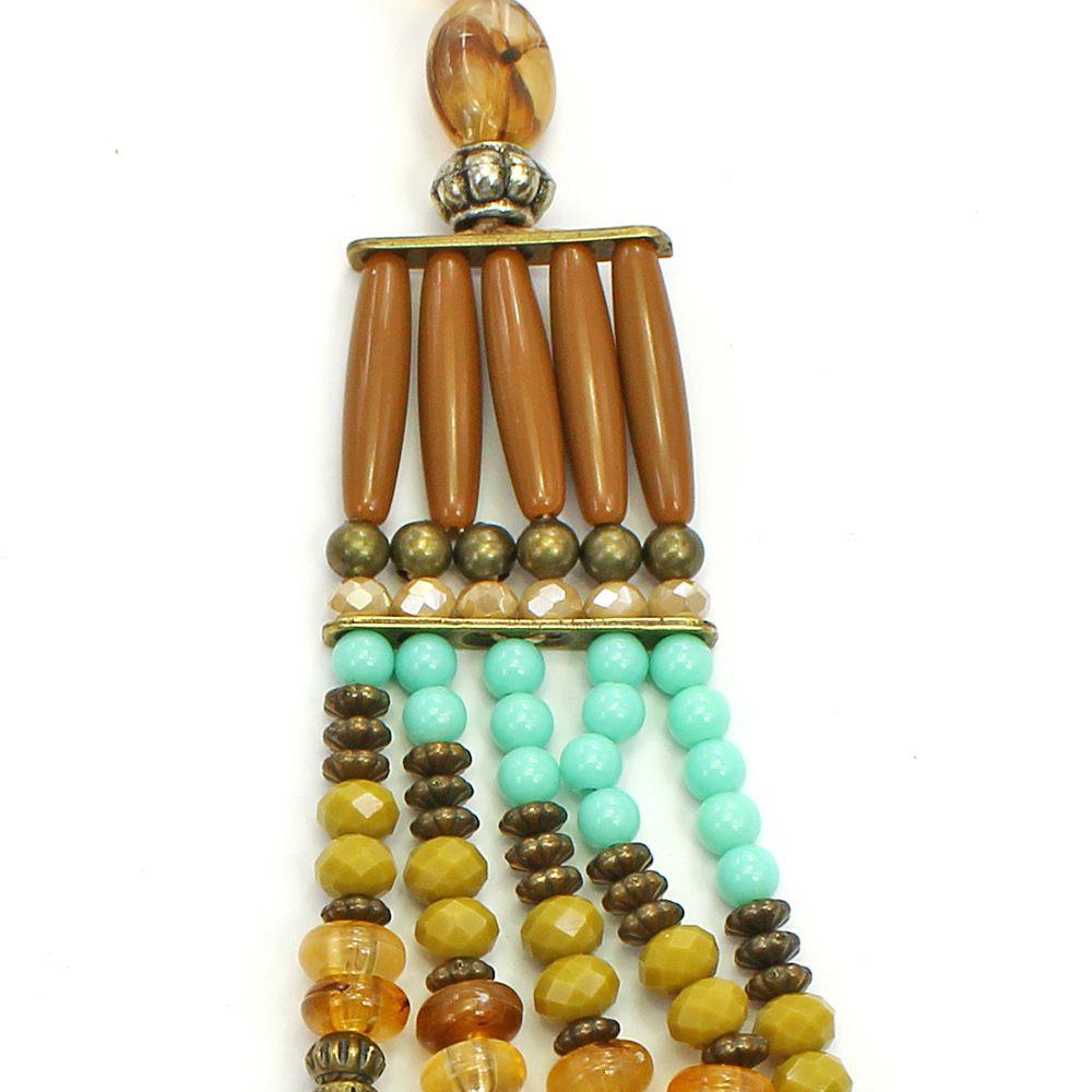 Colar feminino max, cristais e resinas - bijuterias - 2655