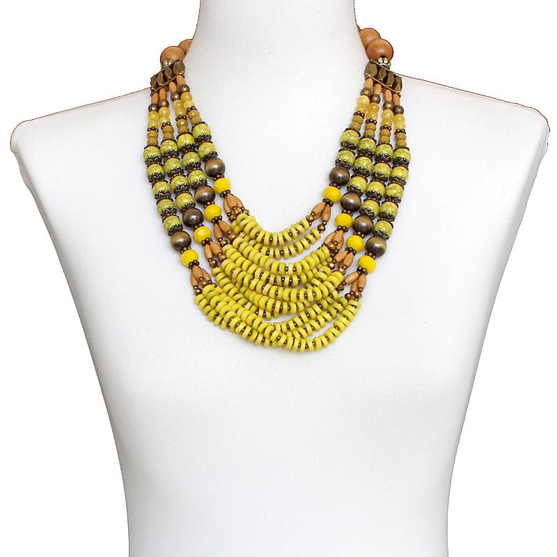 Colar feminino max, cristais, resinas e madeiras - bijuterias - 6334