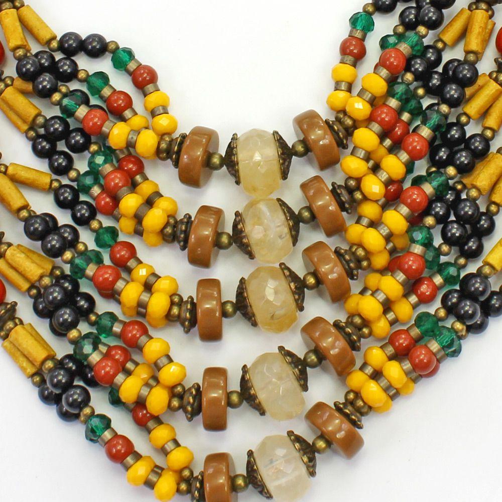 Colar feminino max , miçangas, cristais, metais - bijuterias - 2234