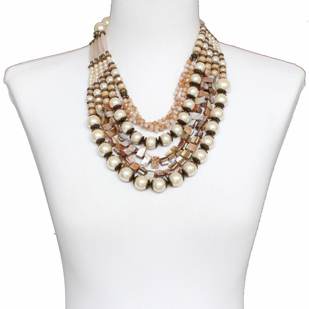 Colar feminino max pérolas, cascalho e cristais - bijuteria - 1573