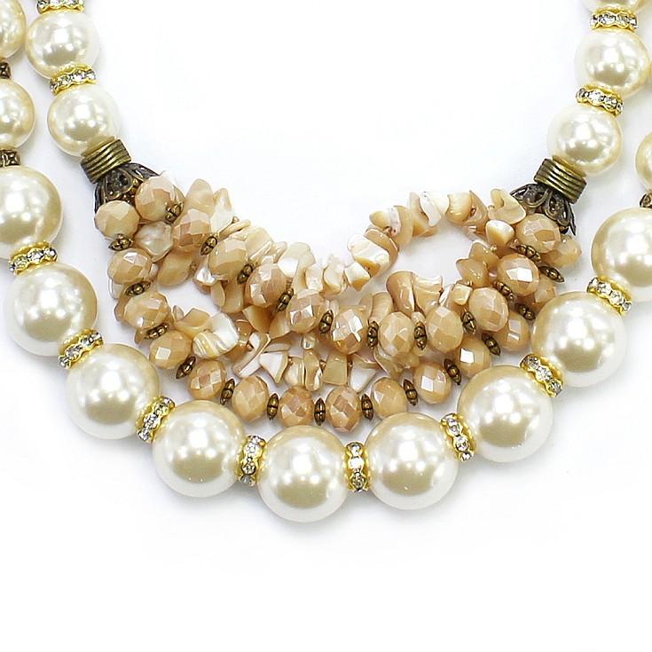 Colar feminino max , pérolas, cascalho e cristais| Bijuteria fina| CX-1099