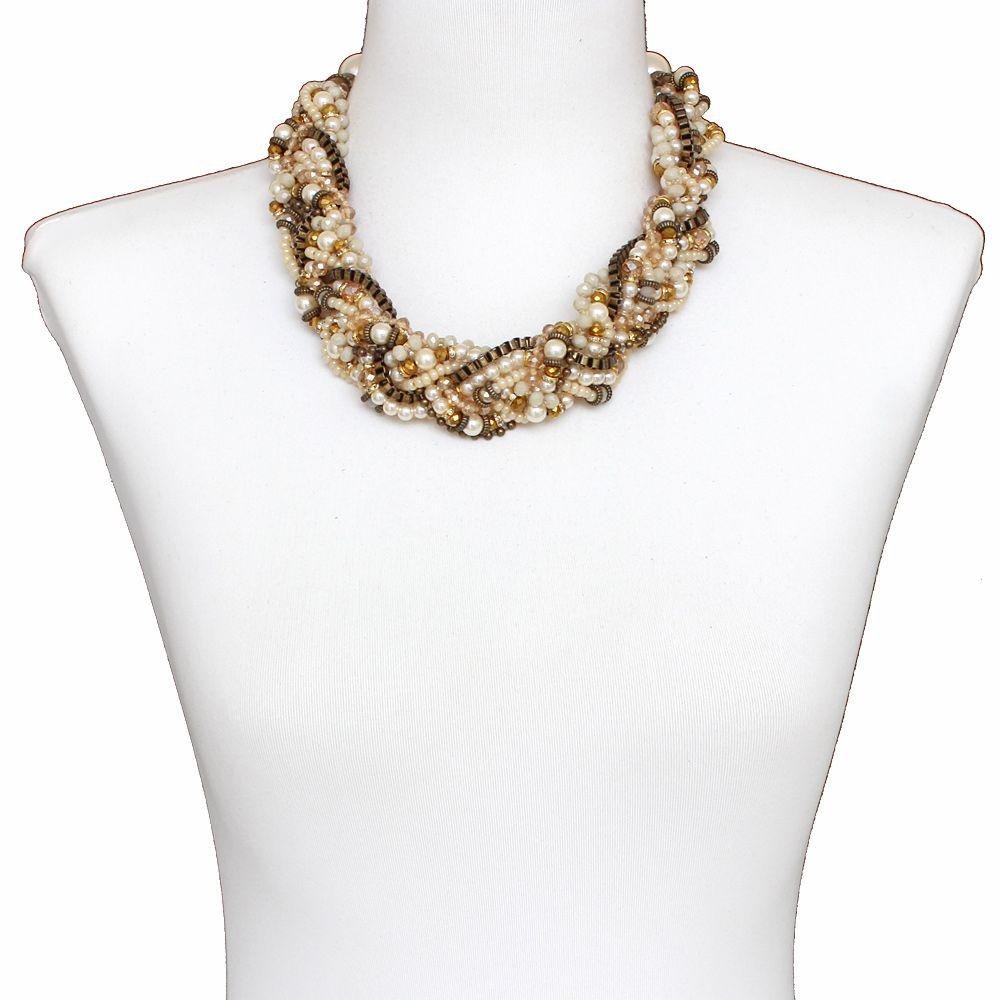 Colar feminino max , pérolas, cristais e corrente - bijuteria - 1424