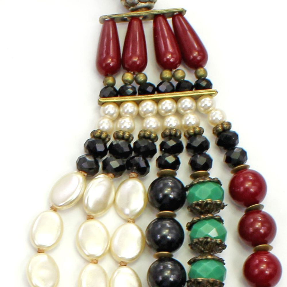 Colar feminino max, pérolas, cristais e resinas -