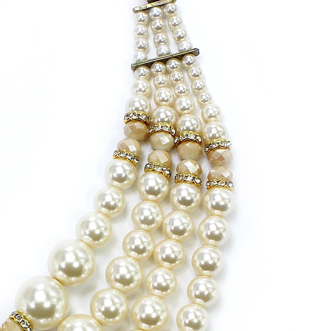 Colar Feminino max pérolas e cristais   bijuteria Fina  CX-0506