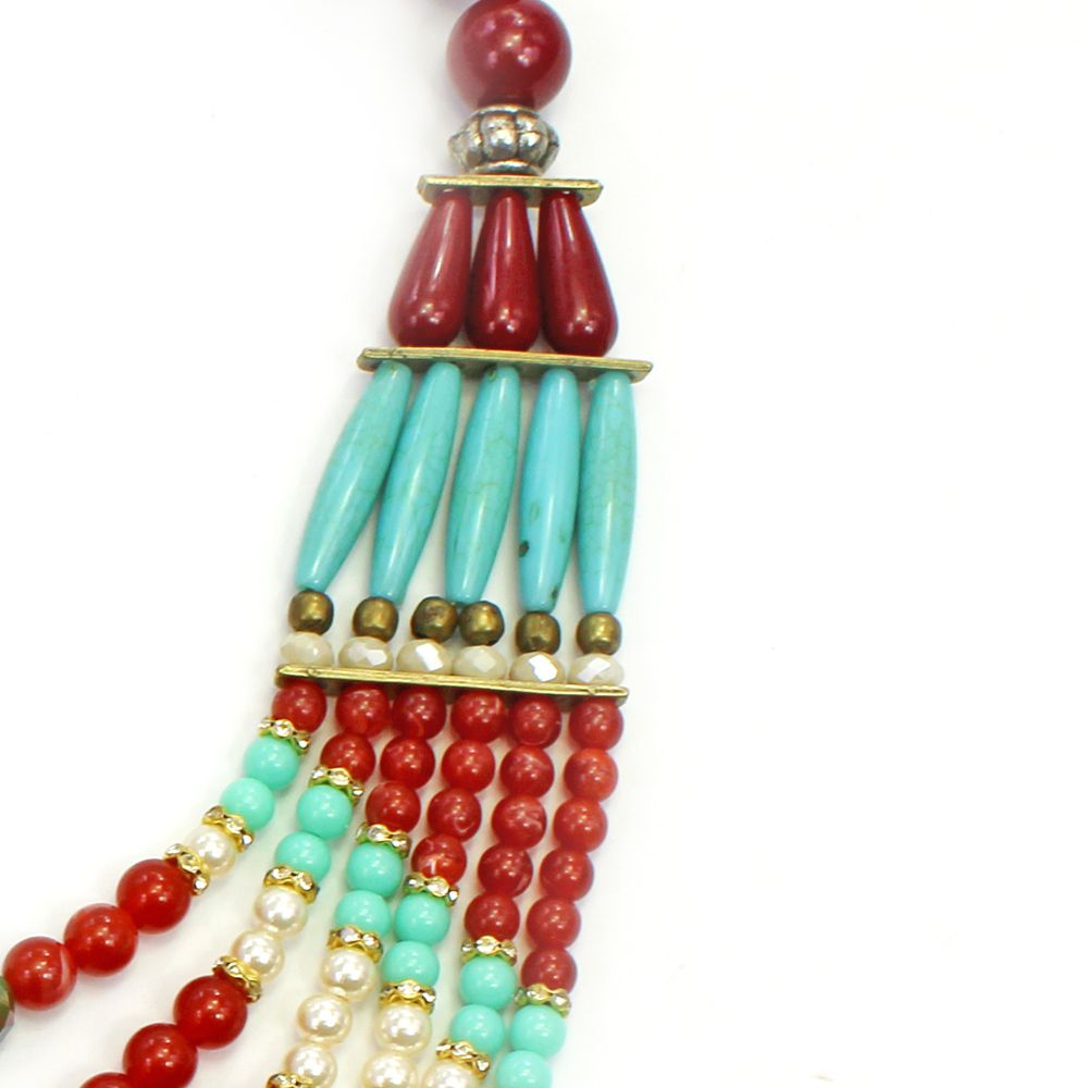 Colar feminino max resinas, cristais e pérolas - bijuterias - 3676
