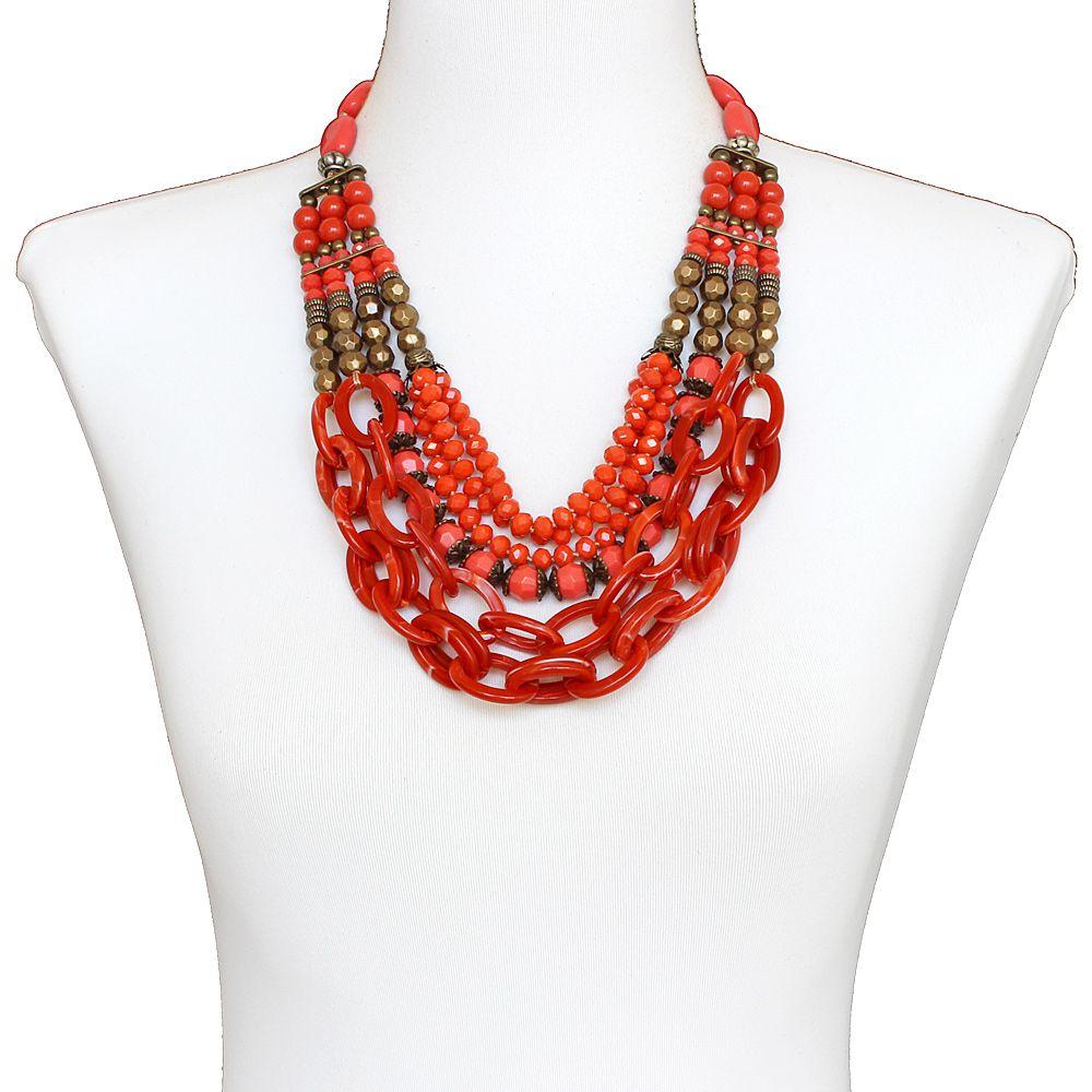 Colar feminino max resinas e cristais - bijuteria - 3672