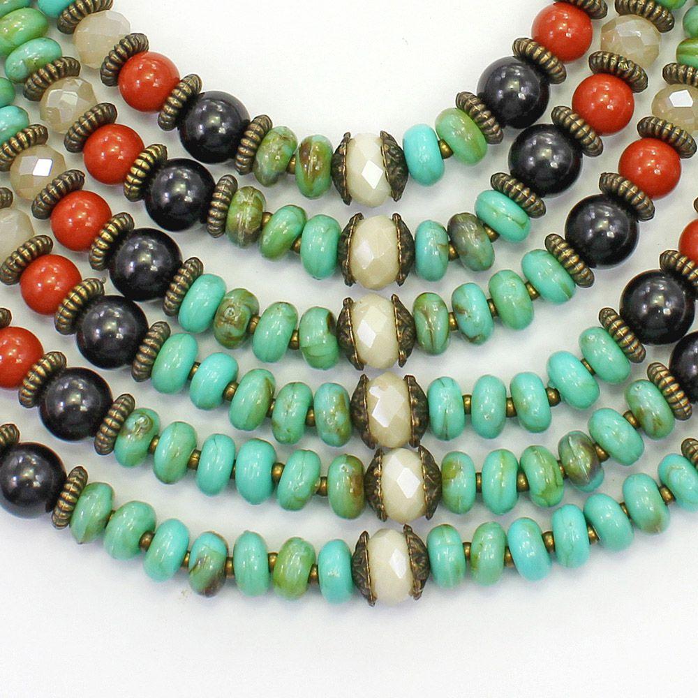 Colar feminino max, resinas metais e cristais - bijuteria - 2647