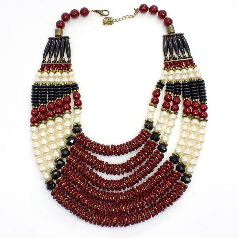 Colar feminino max resinas , pérolas e cristais - 5882
