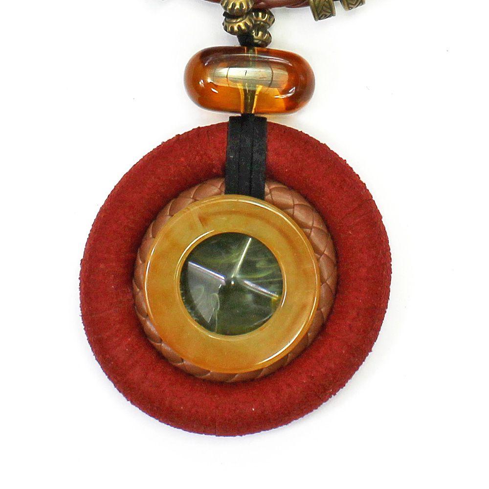 Colar Feminino Medalhão Couro   Bijuteria Fina   CX-3753