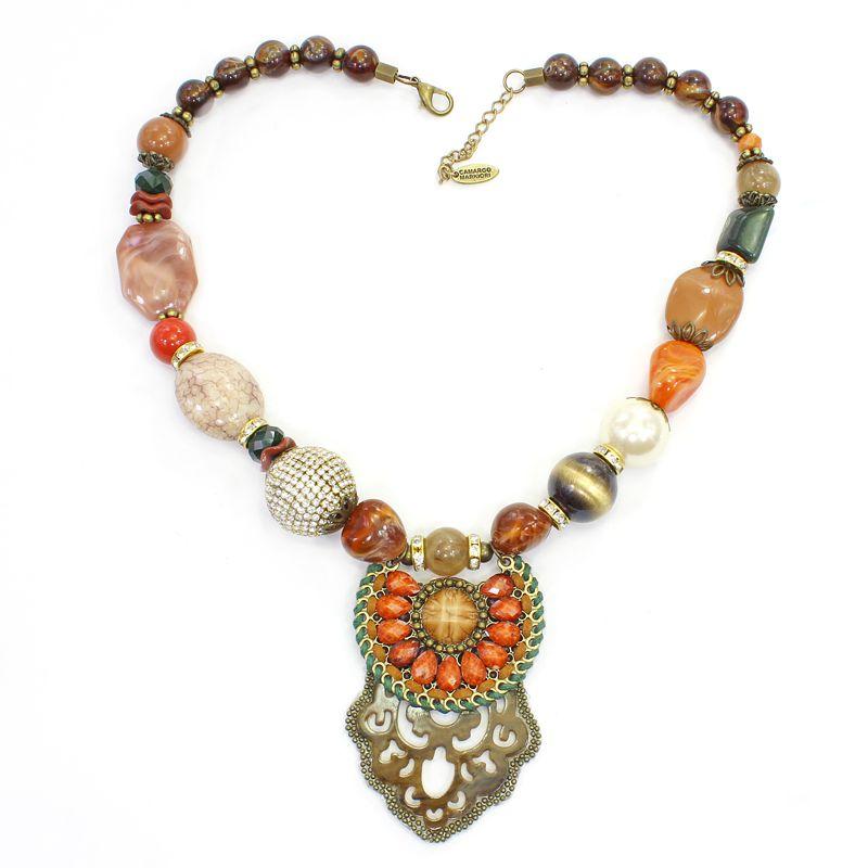 Colar feminino médio, bolas, pedras e resinas - bijuterias - 5719
