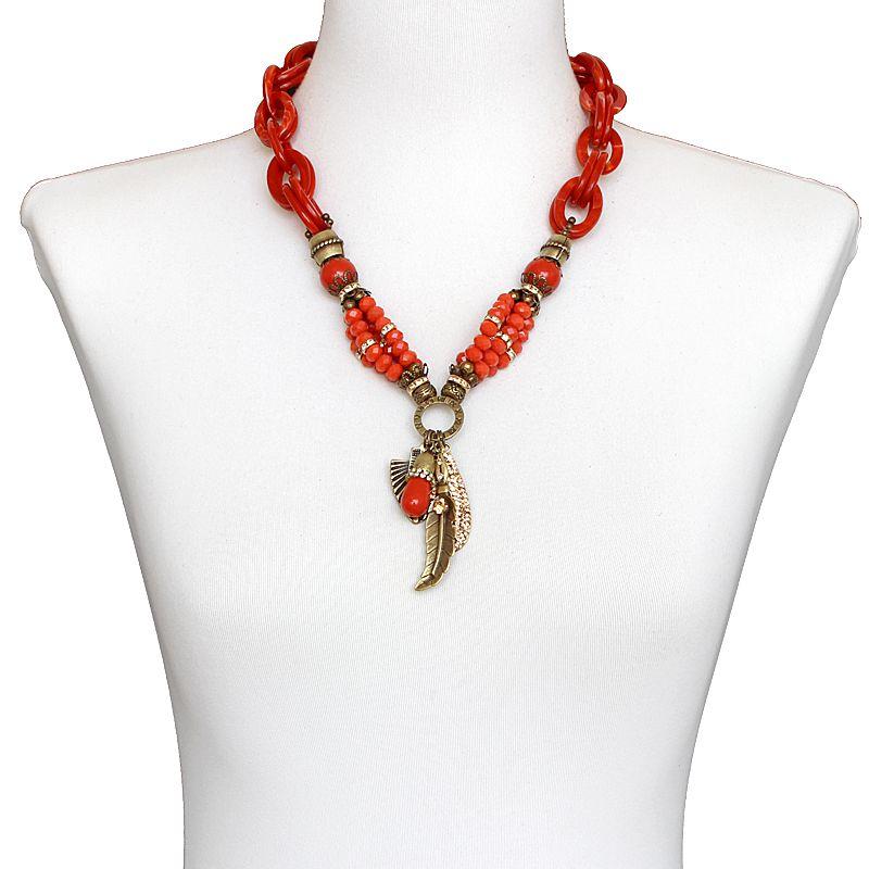 - Bijuterias - Colar feminino médio, cristais , elos e pingentes - 7170