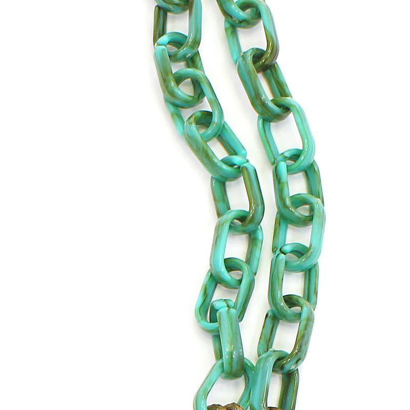 Colar feminino médio elos e pingentes - bijuterias - 7532