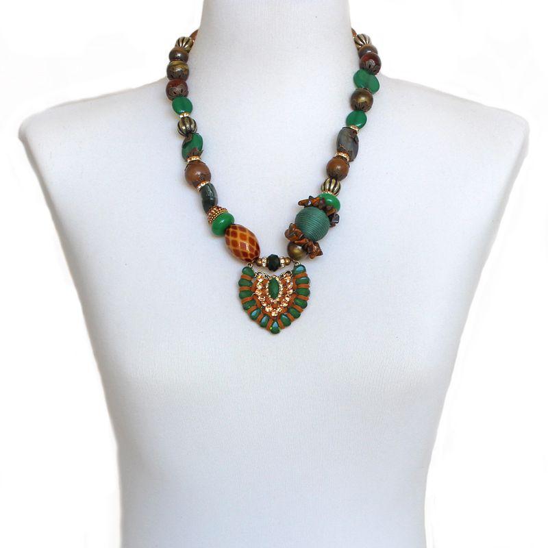 Colar feminino médio pedras , bolas e strass - bijuterias - 5692