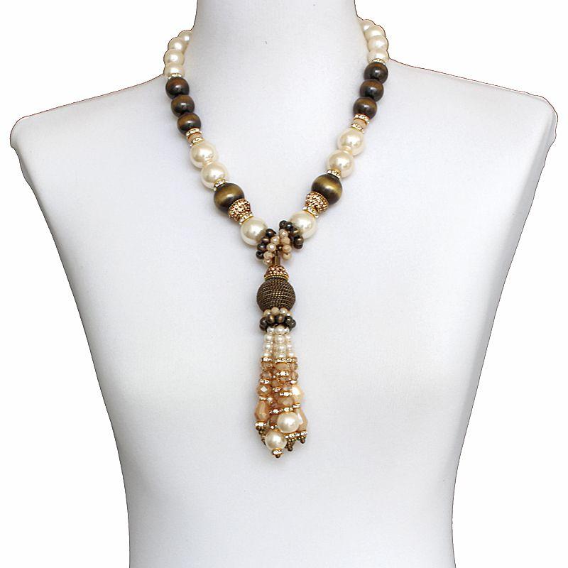Colar feminino médio pérolas e cristais - 5845