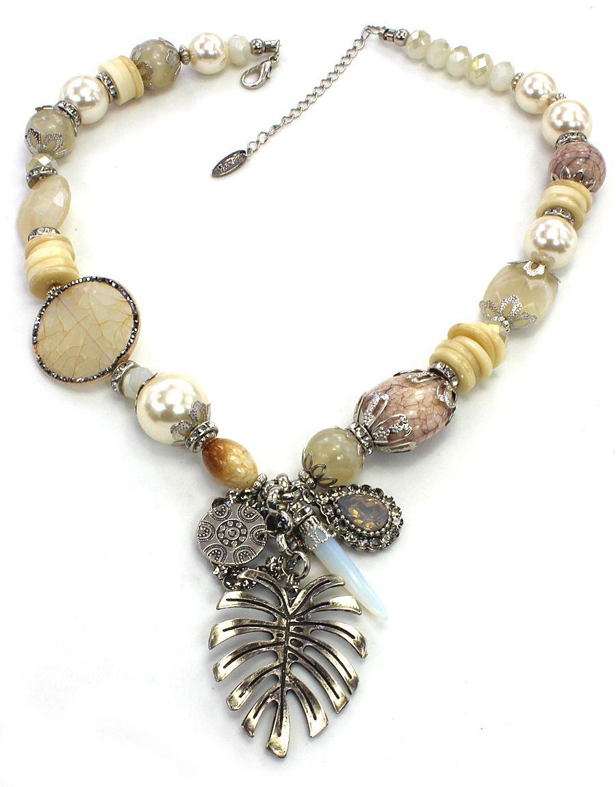 Colar feminino metais, pedras, resinas e pérolas - bijuteria - 1688