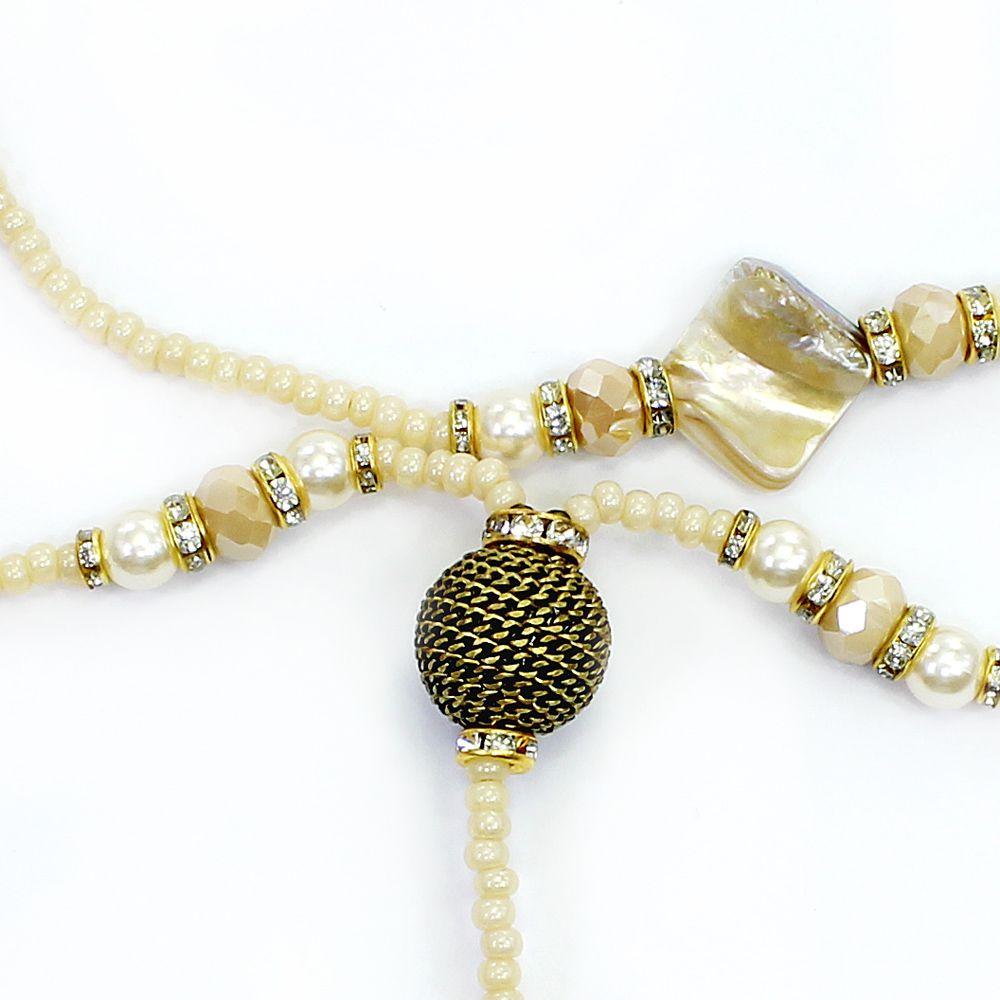 Colar feminino miçangas, cristais e pedras - bijuteria - 1178