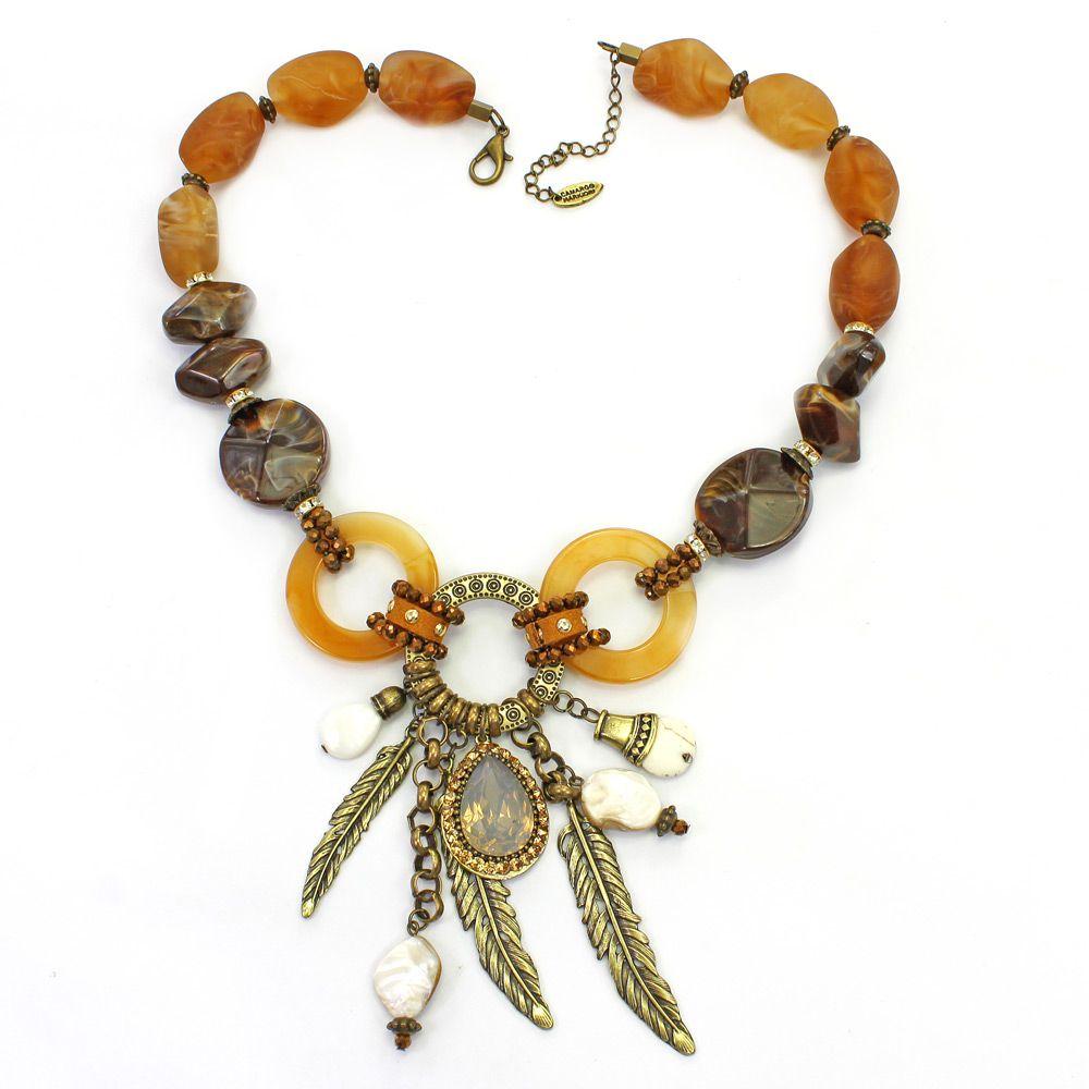 Colar feminino pedras, resinas e metais - bijuteria - 2406