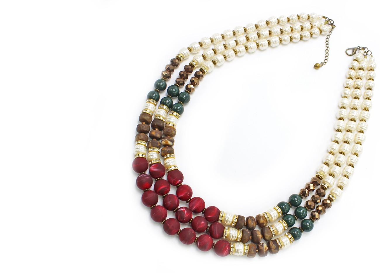 Colar Feminino, pérolas, bolas, cristais   Bijuteria Fina   CX-3010