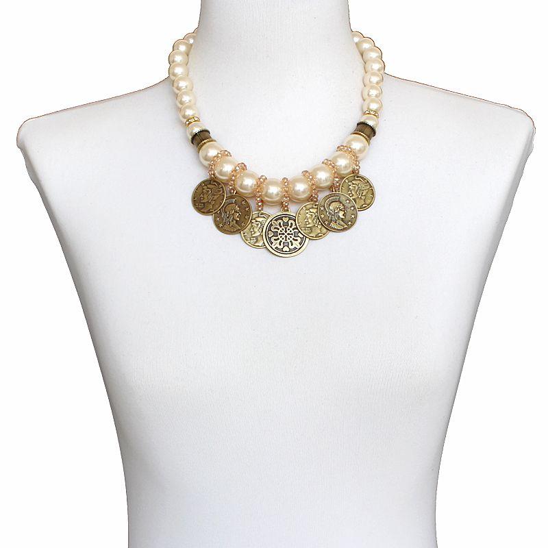 Colar feminino pérolas e moedas - 6366