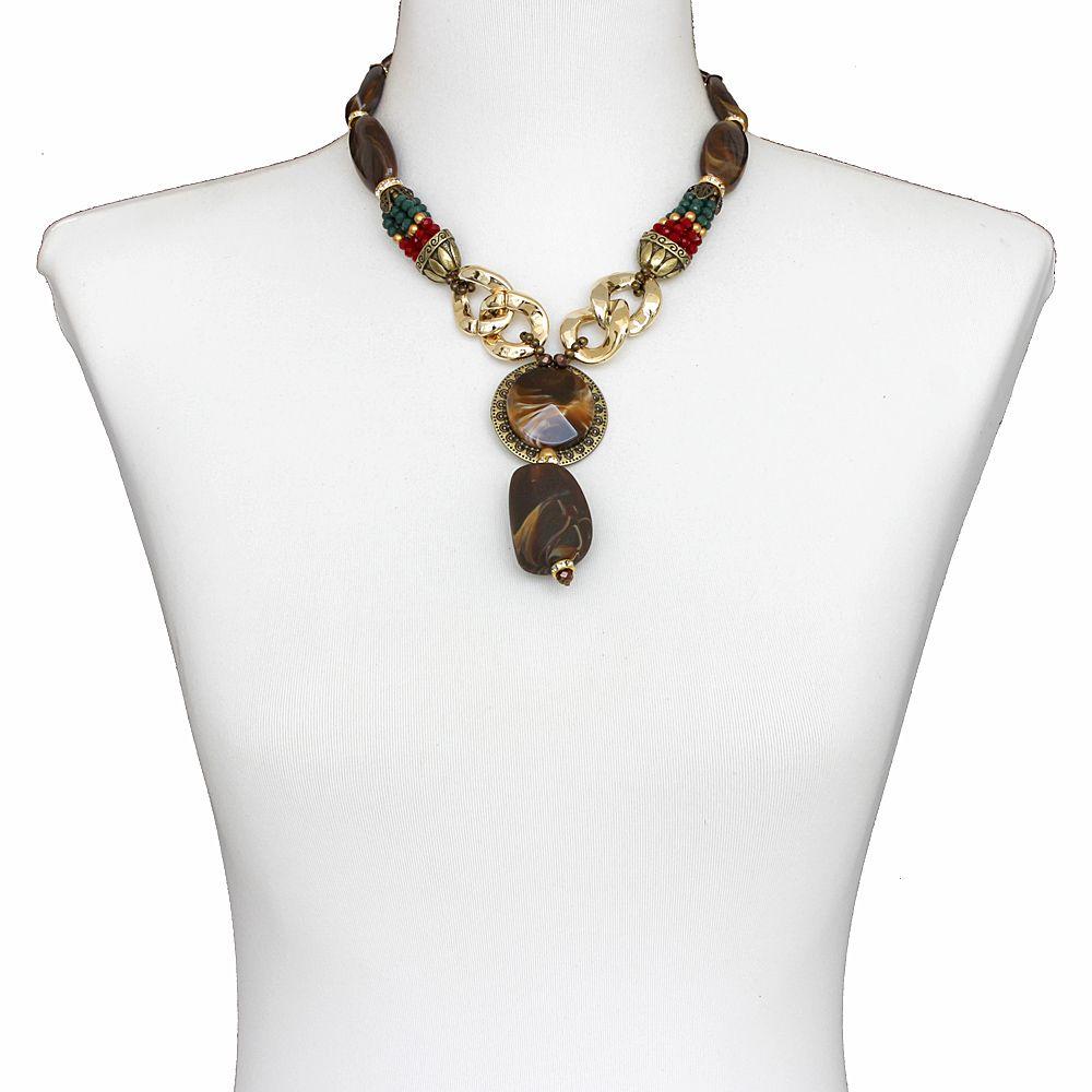 Colar feminino, resinas, cristais e metais - bijuteria - 2554