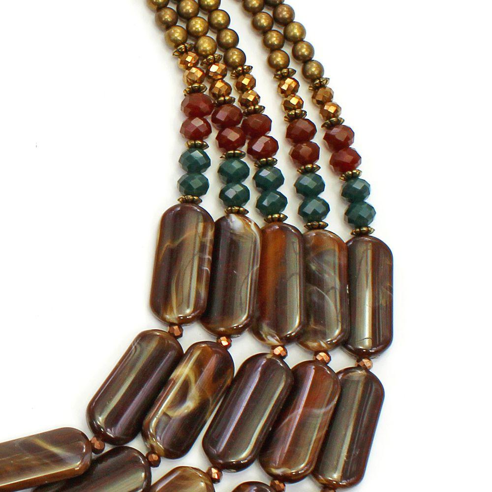Colar feminino resinas, cristais e metais - bijuterias - 3650
