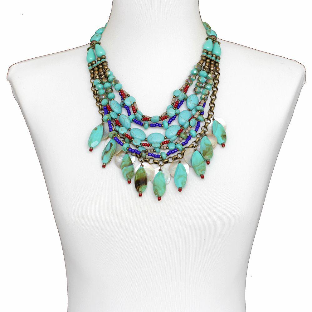 Colar feminino resinas, cristais e resinas - bijuterias - 2289