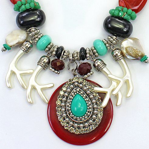 Colar feminino resinas , metais e cristais - 2369