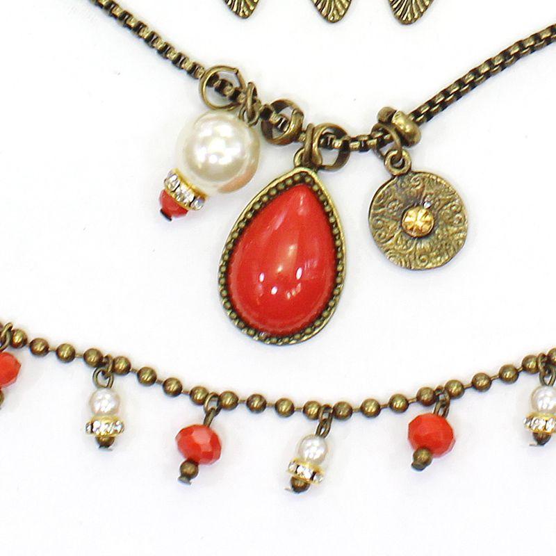 Colar feminino varias voltas, cristais, pérolas e corrente - Bijuterias - 7592