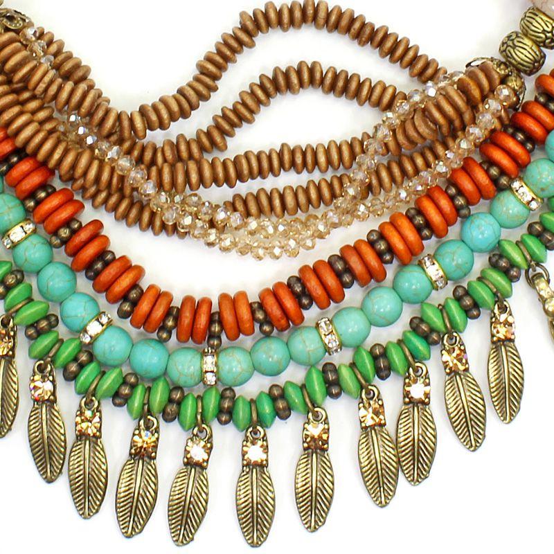 Colar feminino várias voltas, madeira, cristais e metal - Bijuterias -6260