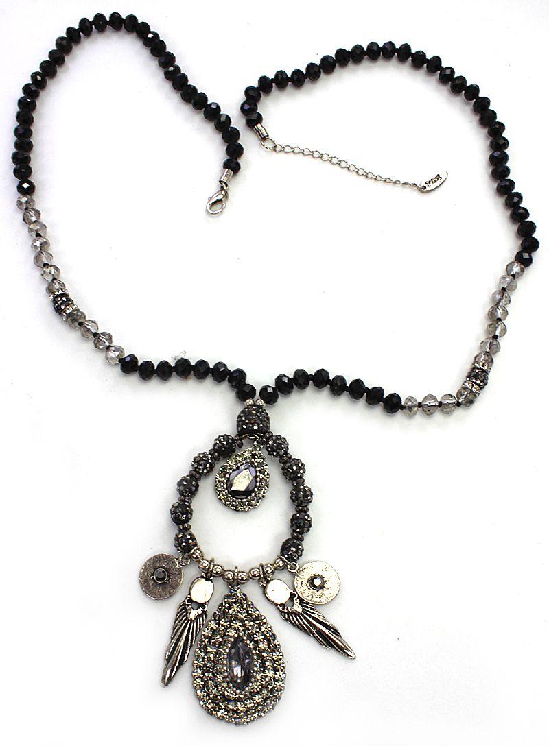 Colar longo cristais, metal e strass - bijuteria - 1611