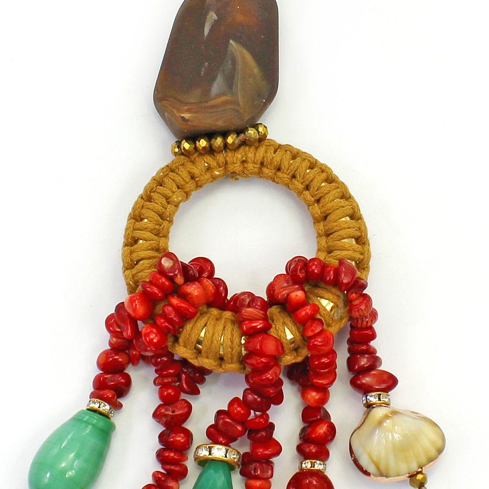 Colar longo feminino camurça, pedras e resinas - 2864