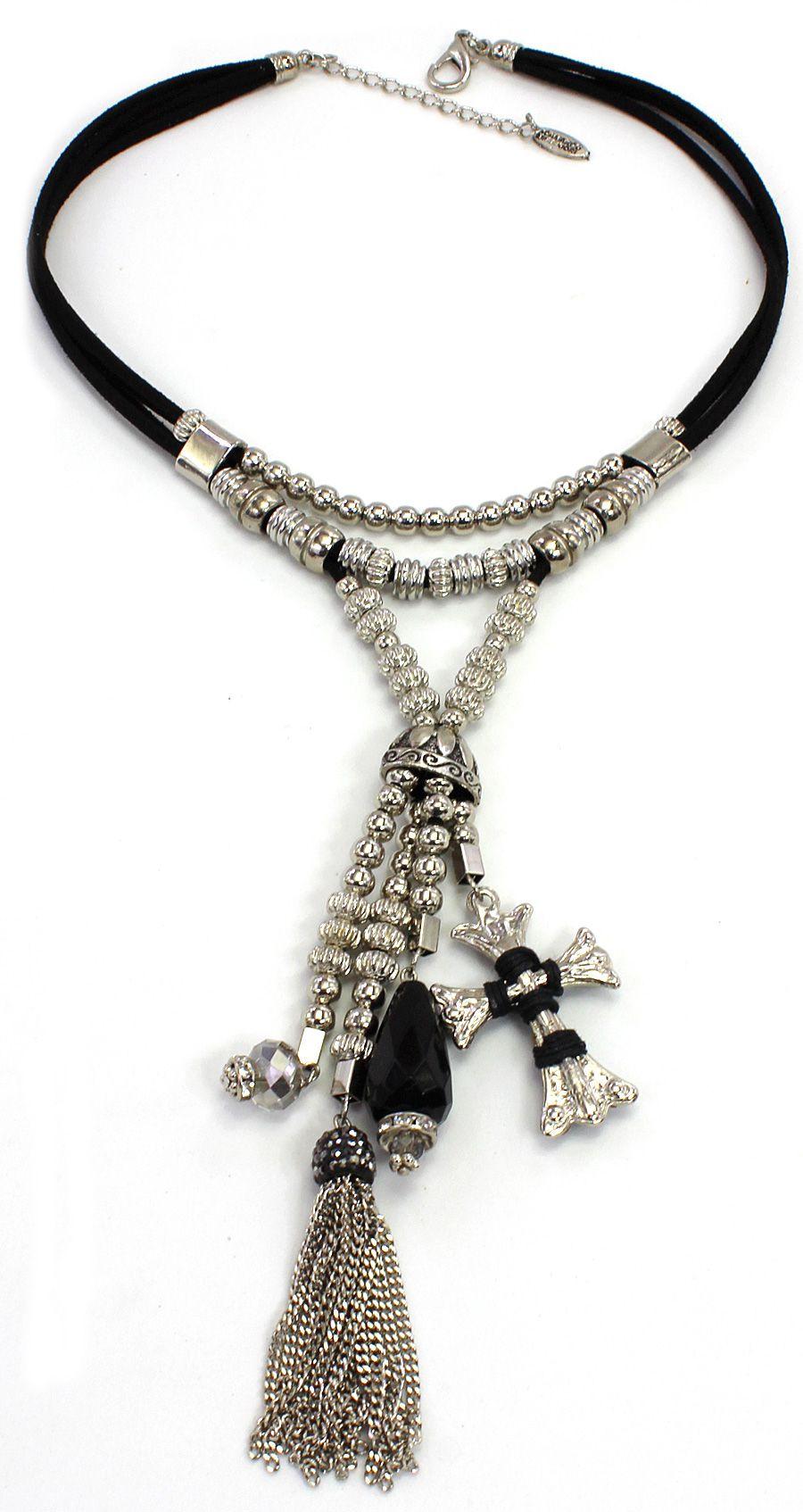Colar médio, camurça, metais e cruz - Bijuterias - 3053