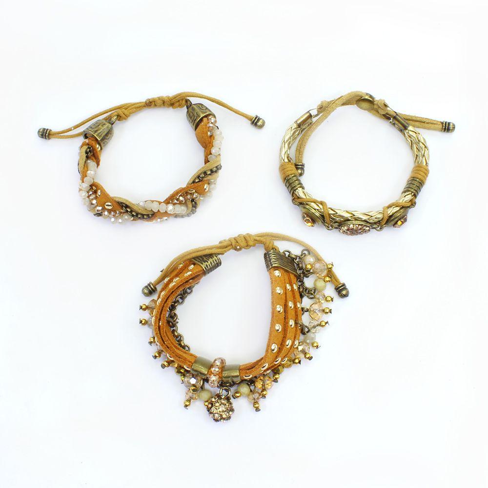 Pulseira feminina camurça, metais, strass e cristais - bijuteria - 0757