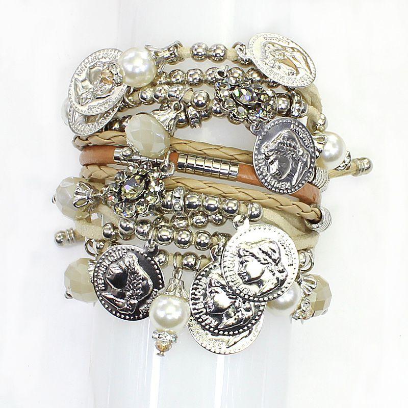 Pulseira feminina couro e moedas - Bijuterias - 6830
