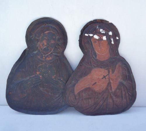 Antigo Sagrado Coraçao De Jesus E Maria Em Couro